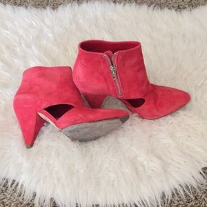 Loeffler Randall pink suede cut out bootie
